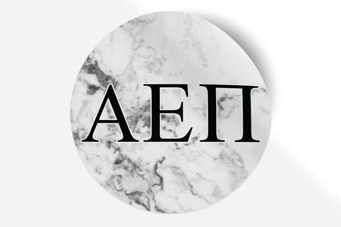 "Alpha Epsilon Pi - White Marble - 5"" Round Sticker"