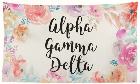 Alpha Gamma Delta - New Floral - 3' x 5' Flag