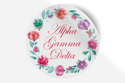 "Alpha Gamma Delta - Watercolor Floral - 5"" Round Sticker"