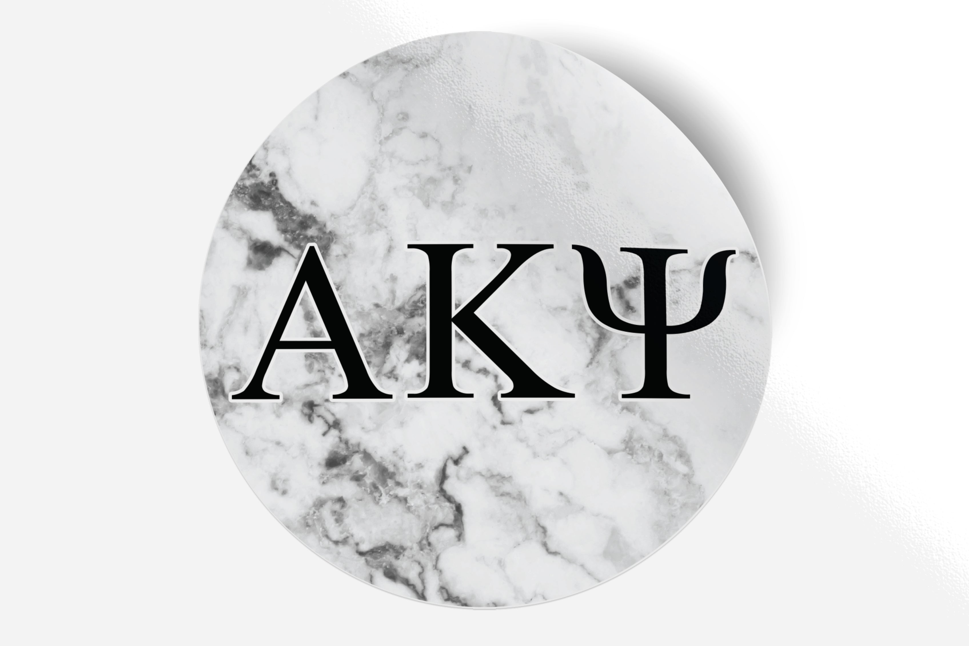 "Alpha Kappa Psi - White Marble - 5"" Round Sticker"