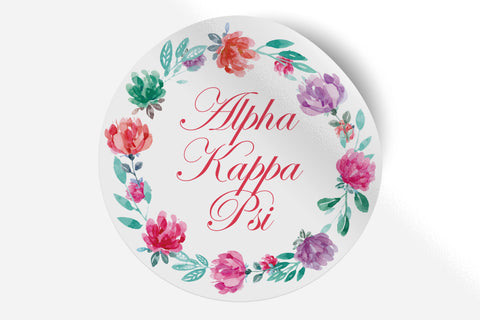 "Alpha Kappa Psi - Watercolor Floral - 5"" Round Sticker"