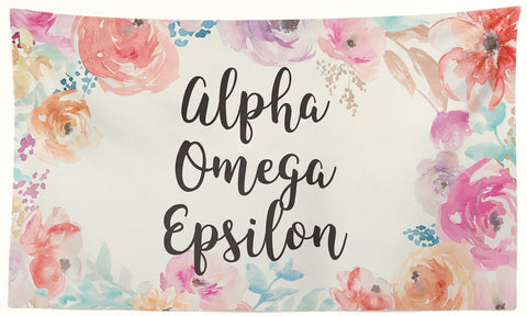Alpha Omega Epsilon - New Floral - 3' x 5' Flag