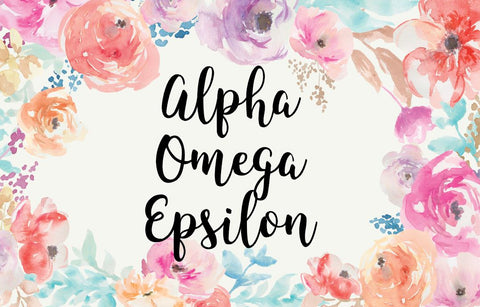 Alpha Omega Epsilon New Floral 3' x 5' Flag