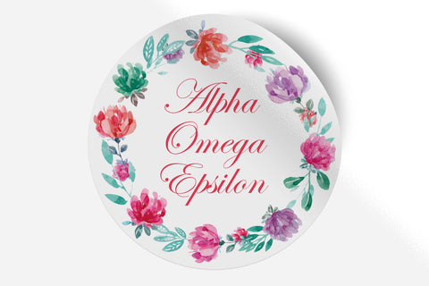 "Alpha Omega Epsilon - Watercolor Floral - 5"" Round Sticker"