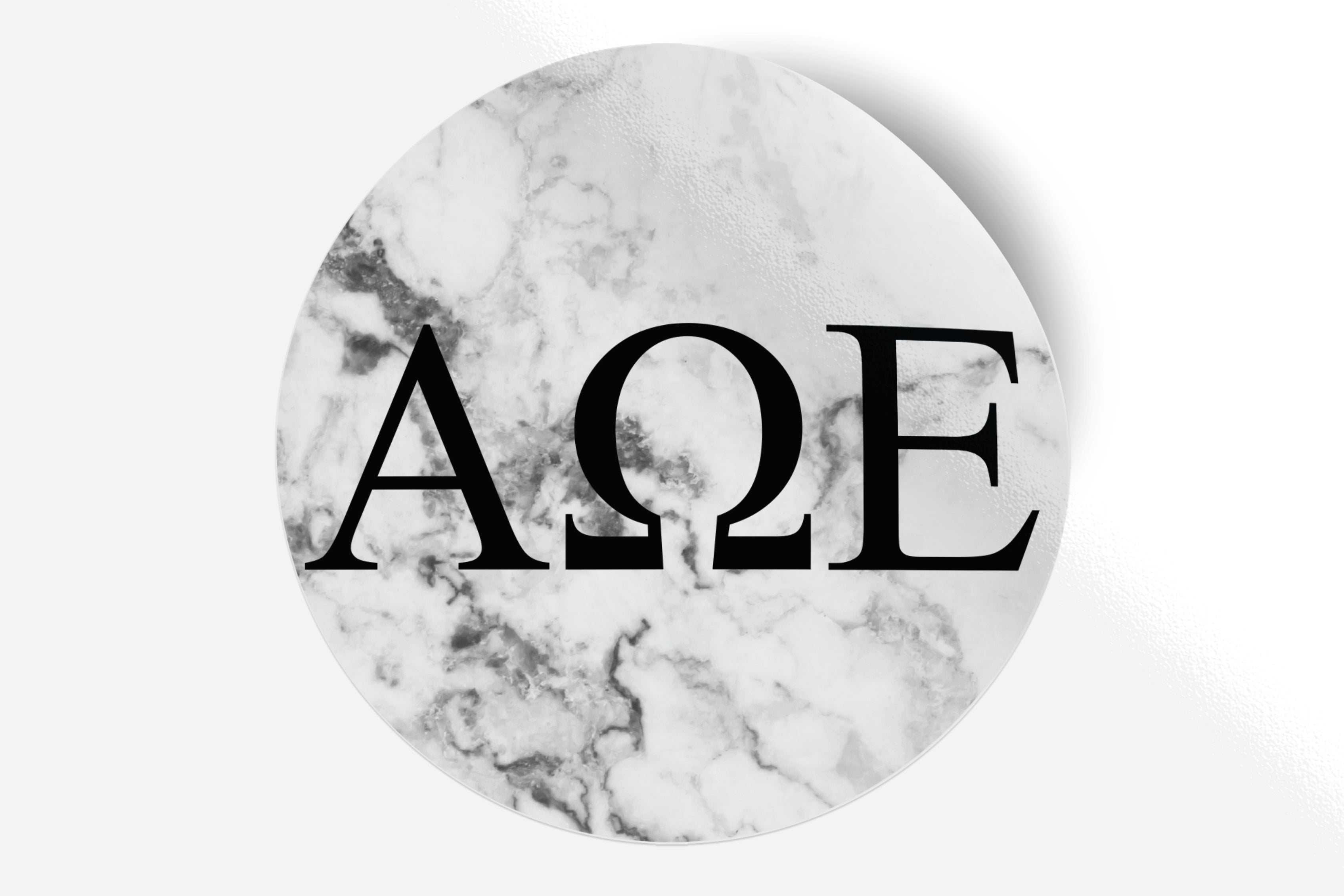 "Alpha Omega Epsilon - White Marble - 5"" Round Sticker"