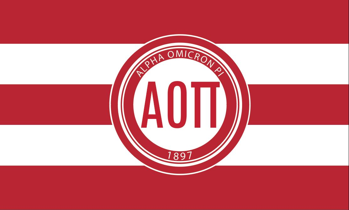 Alpha Omicron Pi Stripes PMS 200 3' x 5' Flag