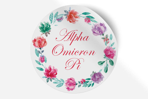 "Alpha Omicron Pi - Watercolor Floral - 5"" Round Sticker"