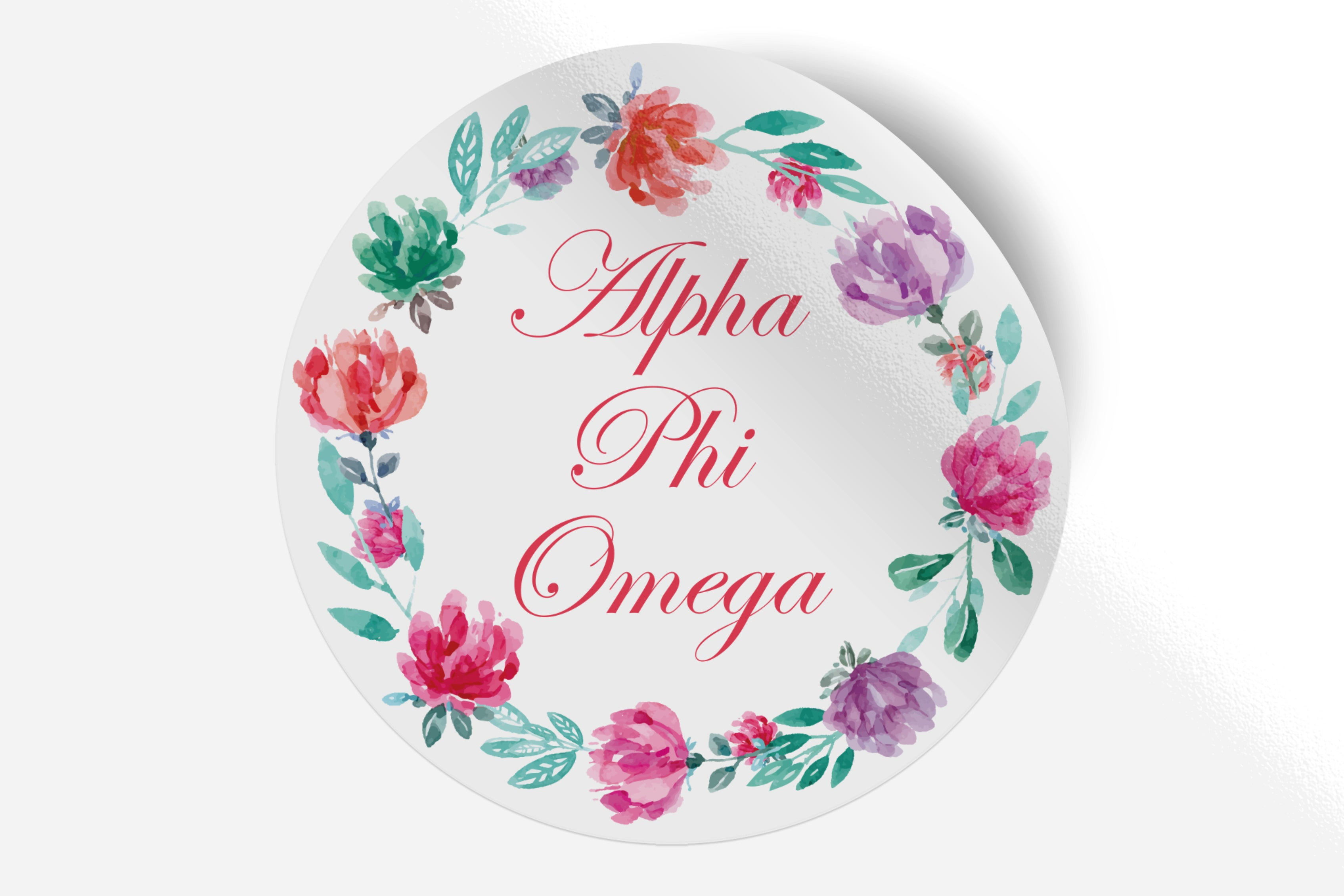 "Alpha Phi Omega - Watercolor Floral - 5"" Round Sticker"
