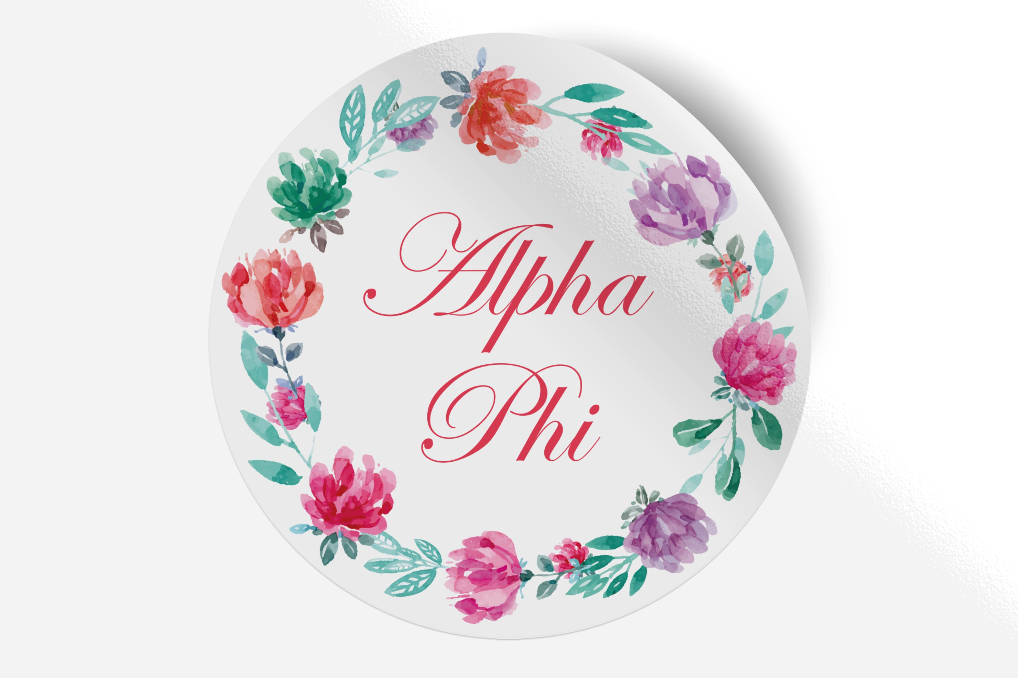 "Alpha Phi - Watercolor Floral - 5"" Round Sticker"