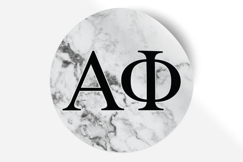 "Alpha Phi - White Marble - 5"" Round Sticker"