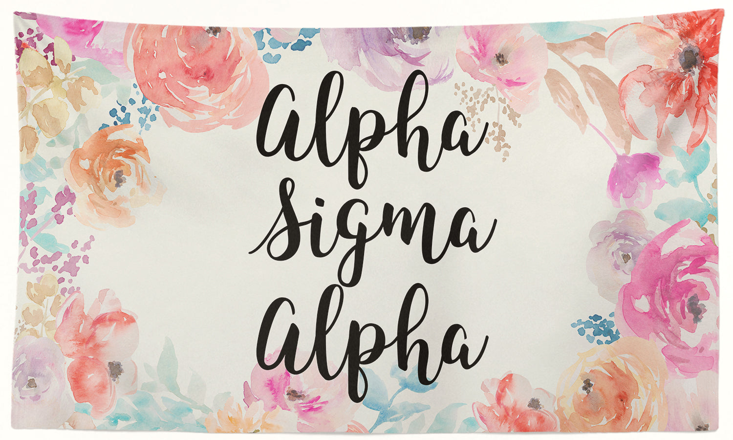 Alpha Sigma Alpha - New Floral - 3' x 5' Flag