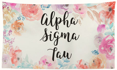 Alpha Sigma Tau - New Floral - 3' x 5' Flag