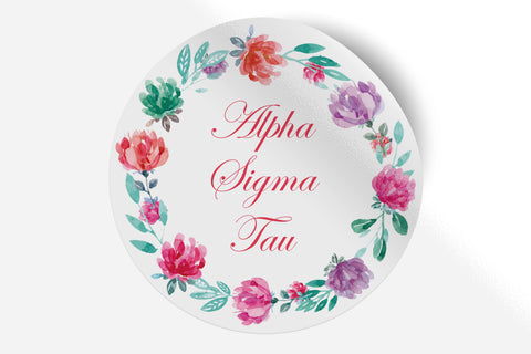 "Alpha Sigma Tau - Watercolor Floral - 5"" Round Sticker"