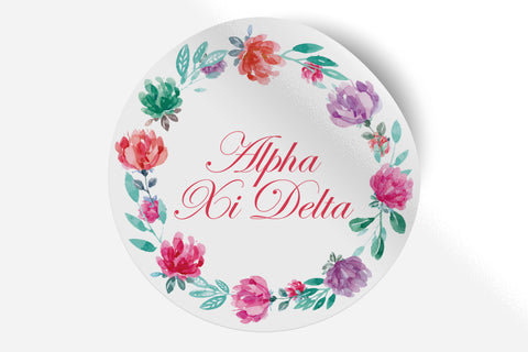"Alpha Xi Delta - Watercolor Floral - 5"" Round Sticker"