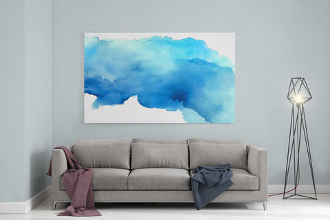 "Blue Watercolor - 24"" x 36"" Stretched Canvas"
