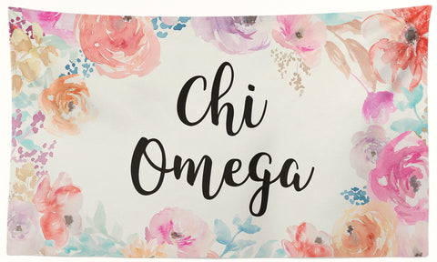 Chi Omega - New Floral - 3' x 5' Flag