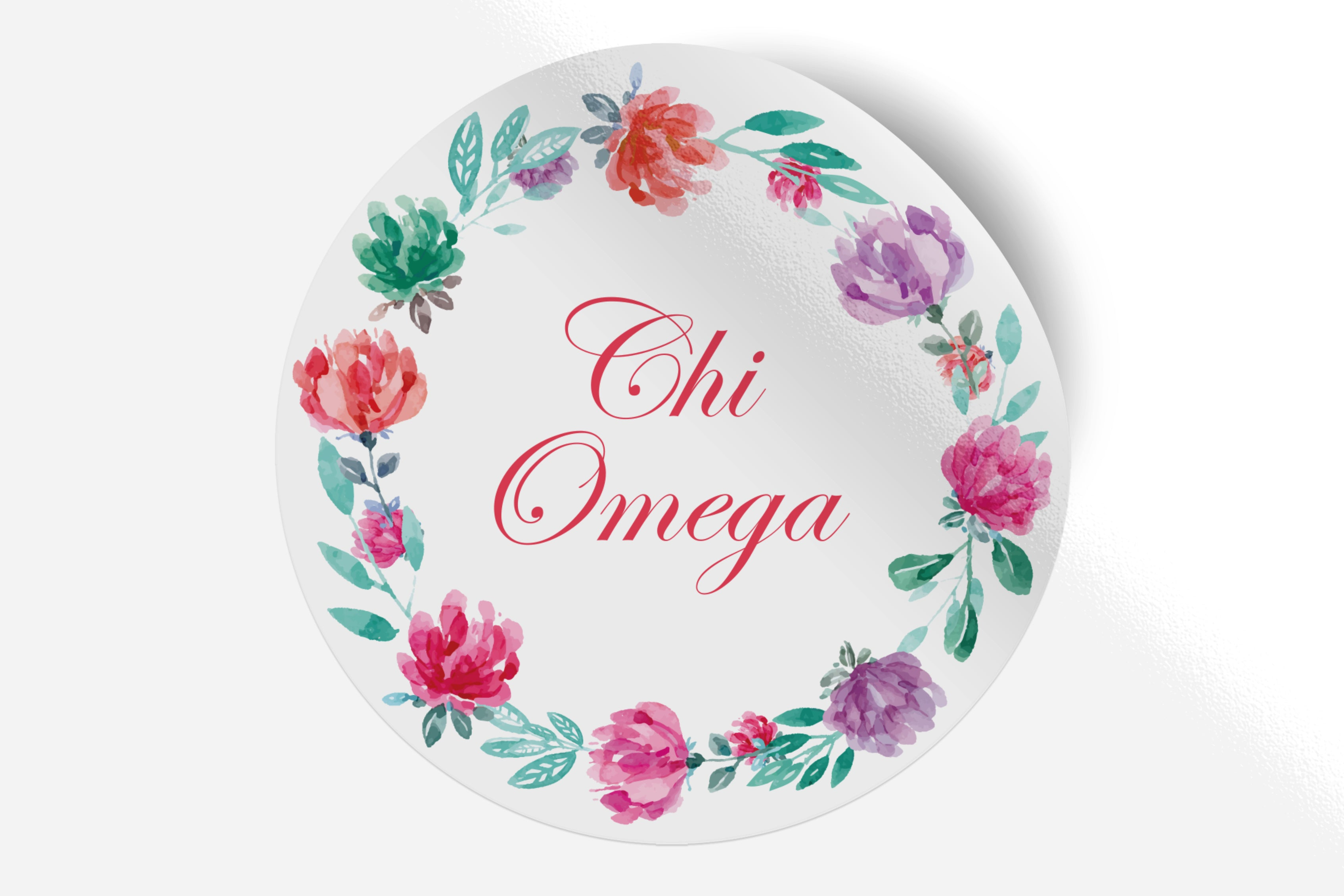 "Chi Omega - Watercolor Floral - 5"" Round Sticker"