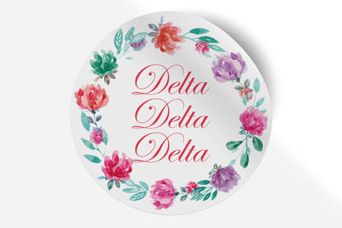 "Delta Delta Delta - Watercolor Floral - 5"" Round Sticker"