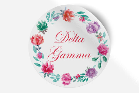 "Delta Gamma - Watercolor Floral - 5"" Round Sticker"