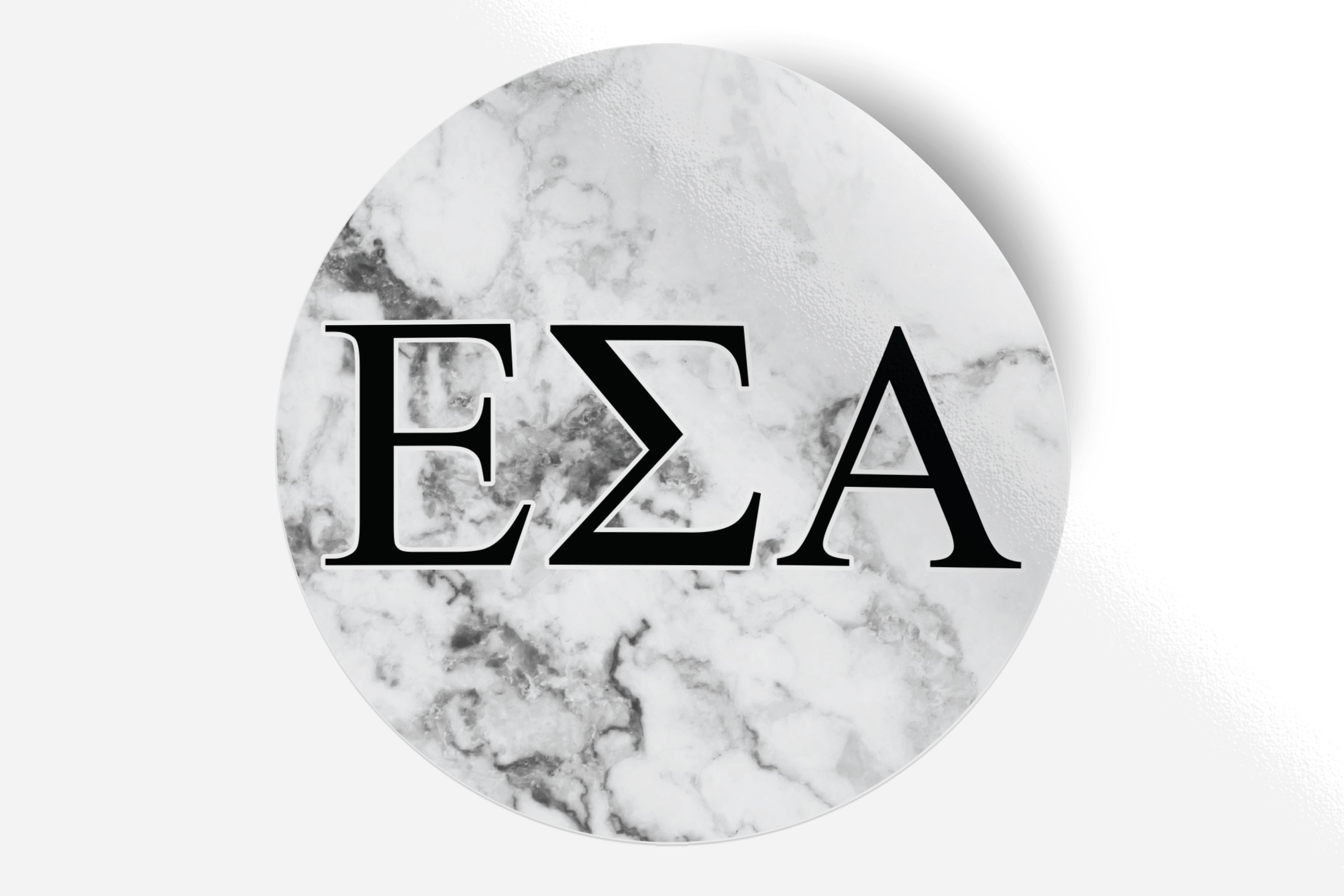 "Epsilon Sigma Alpha - White Marble - 5"" Round Sticker"