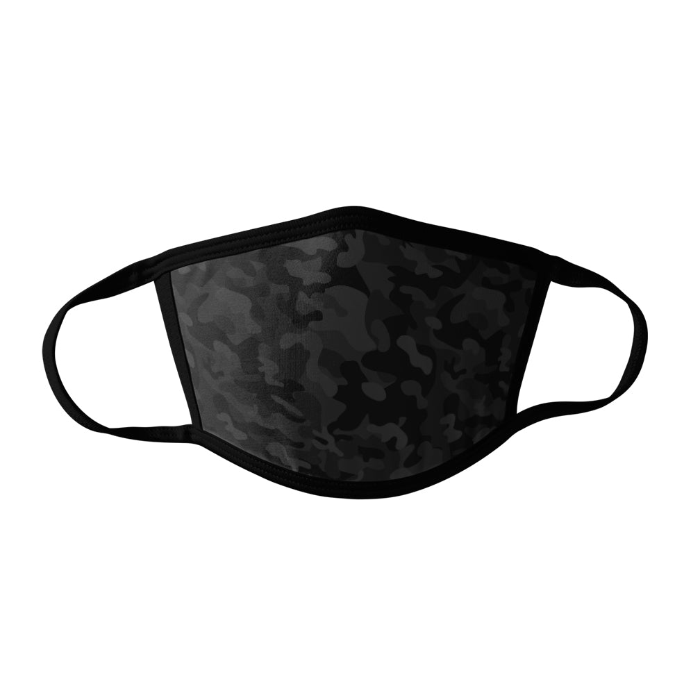 Pro-Graphx Black Camo Face Mask - Made in USA 100% Polyester Washable Reusable Unisex Fashion Facemask Comfortable - Adult