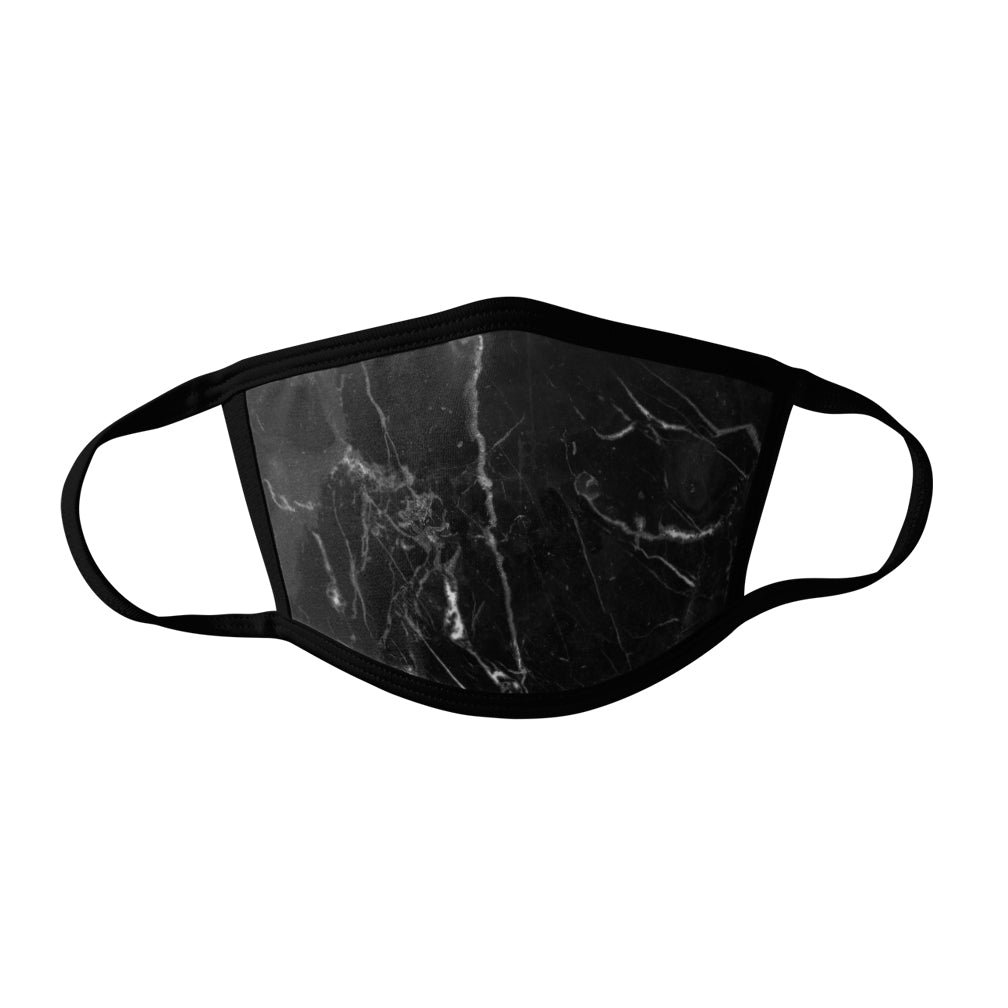 Pro-Graphx Black Marble Face Mask - Made in USA 100% Polyester Washable Reusable Unisex Fashion Facemask Comfortable - Adult