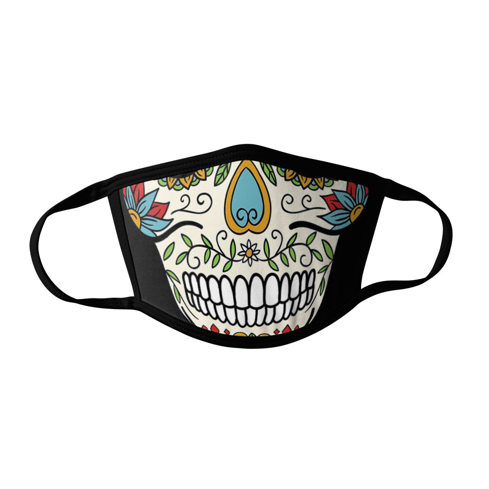 Pro-Graphx Candy Skull Face Mask - Made in USA 100% Polyester Washable Reusable Unisex Fashion Facemask Comfortable - Adult