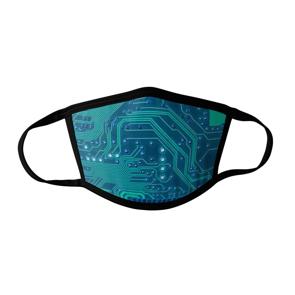 Pro-Graphx Circuit Board Face Mask - Made in USA 100% Polyester Washable Reusable Unisex Fashion Facemask Comfortable - Adult