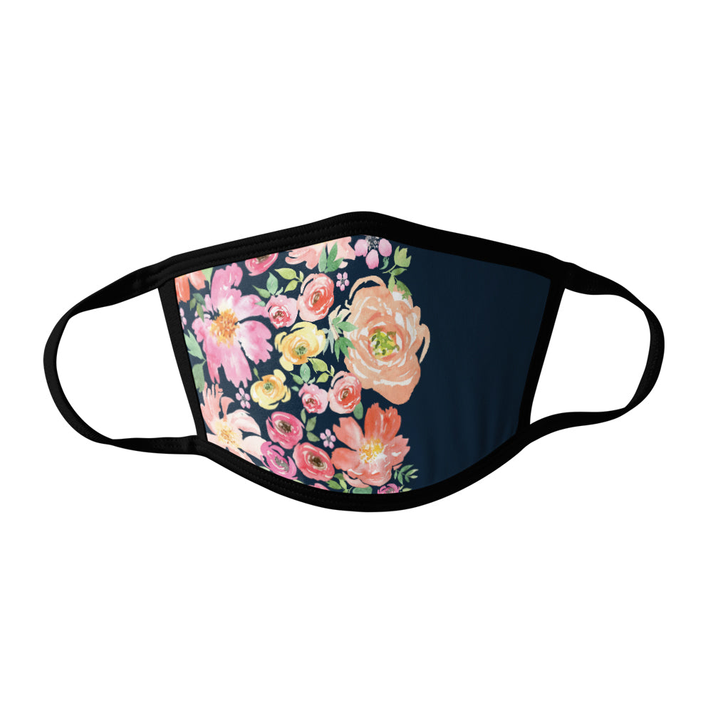 Pro-Graphx Navy Floral Face Mask - Made in USA 100% Polyester Washable Reusable Unisex Fashion Facemask Comfortable - Adult