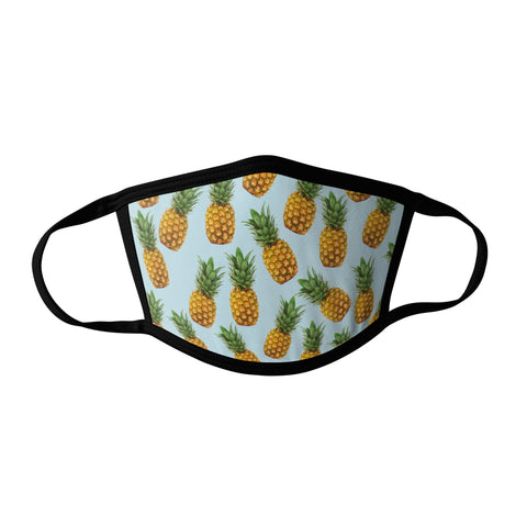 Pro-Graphx Pastel Pineapples Face Mask - Made in USA 100% Polyester Washable Reusable Unisex Fashion Facemask Comfortable - Adult