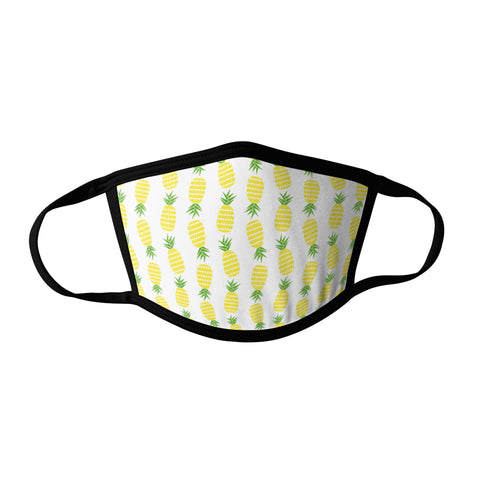 Pro-Graphx Pineapple Patterns Face Mask - Made in USA 100% Polyester Washable Reusable Unisex Fashion Facemask Comfortable - Adult
