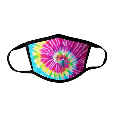 Pro-Graphx Pink Yellow and Teal Tie Dye Face Mask - Made in USA 100% Polyester Washable Reusable Unisex Fashion Facemask Comfortable - Adult