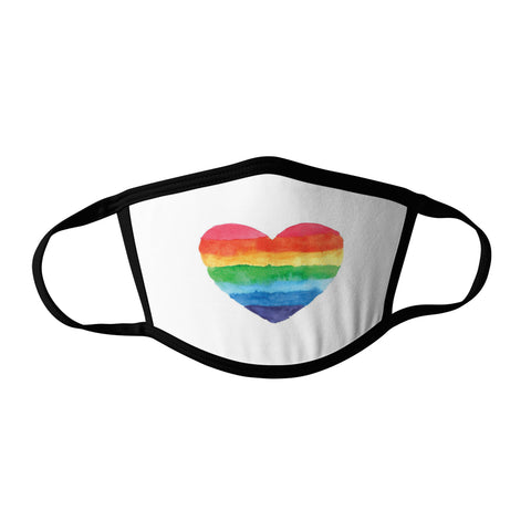 Pro-Graphx Pride Heart Face Mask - Made in USA 100% Polyester Washable Reusable Unisex Fashion Facemask Comfortable - Adult