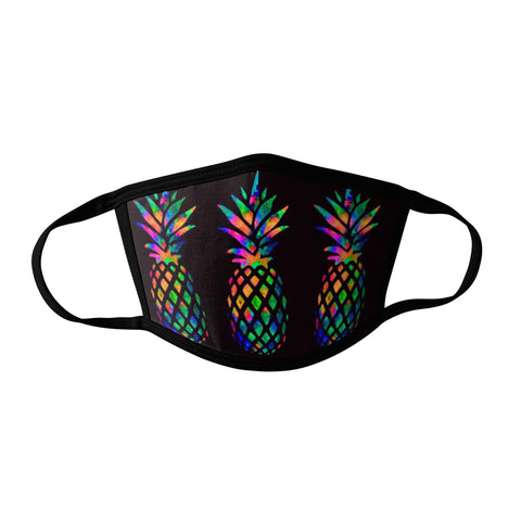 Pro-Graphx Rainbow Pineapple Face Mask - Made in USA 100% Polyester Washable Reusable Unisex Fashion Facemask Comfortable - Adult