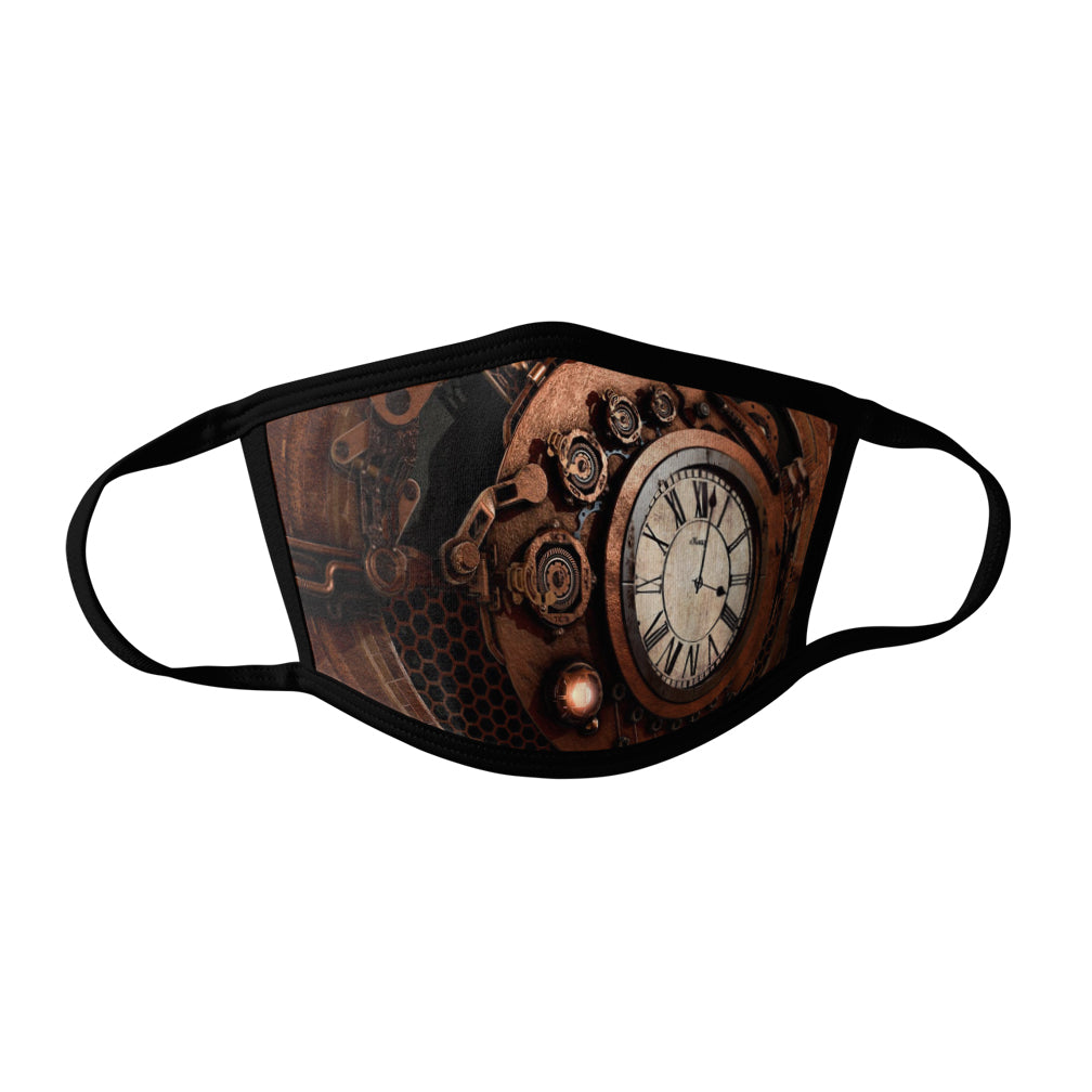 Pro-Graphx Steampunk Clock Face Mask - Made in USA 100% Polyester Washable Reusable Unisex Fashion Facemask Comfortable - Adult