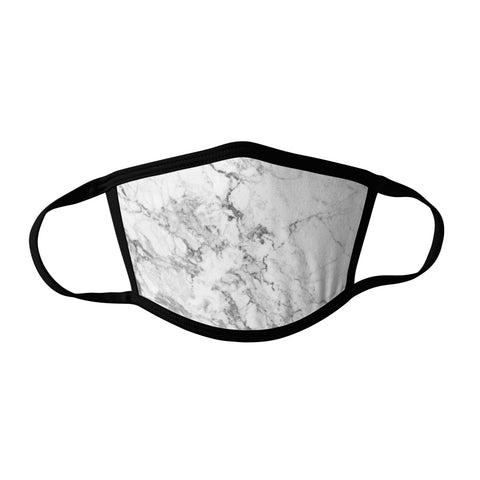 Pro-Graphx White Marble Face Mask - Made in USA 100% Polyester Washable Reusable Unisex Fashion Facemask Comfortable - Adult