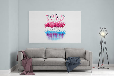 "Watercolor Flamingos - 24"" x 36"" Stretched Canvas"