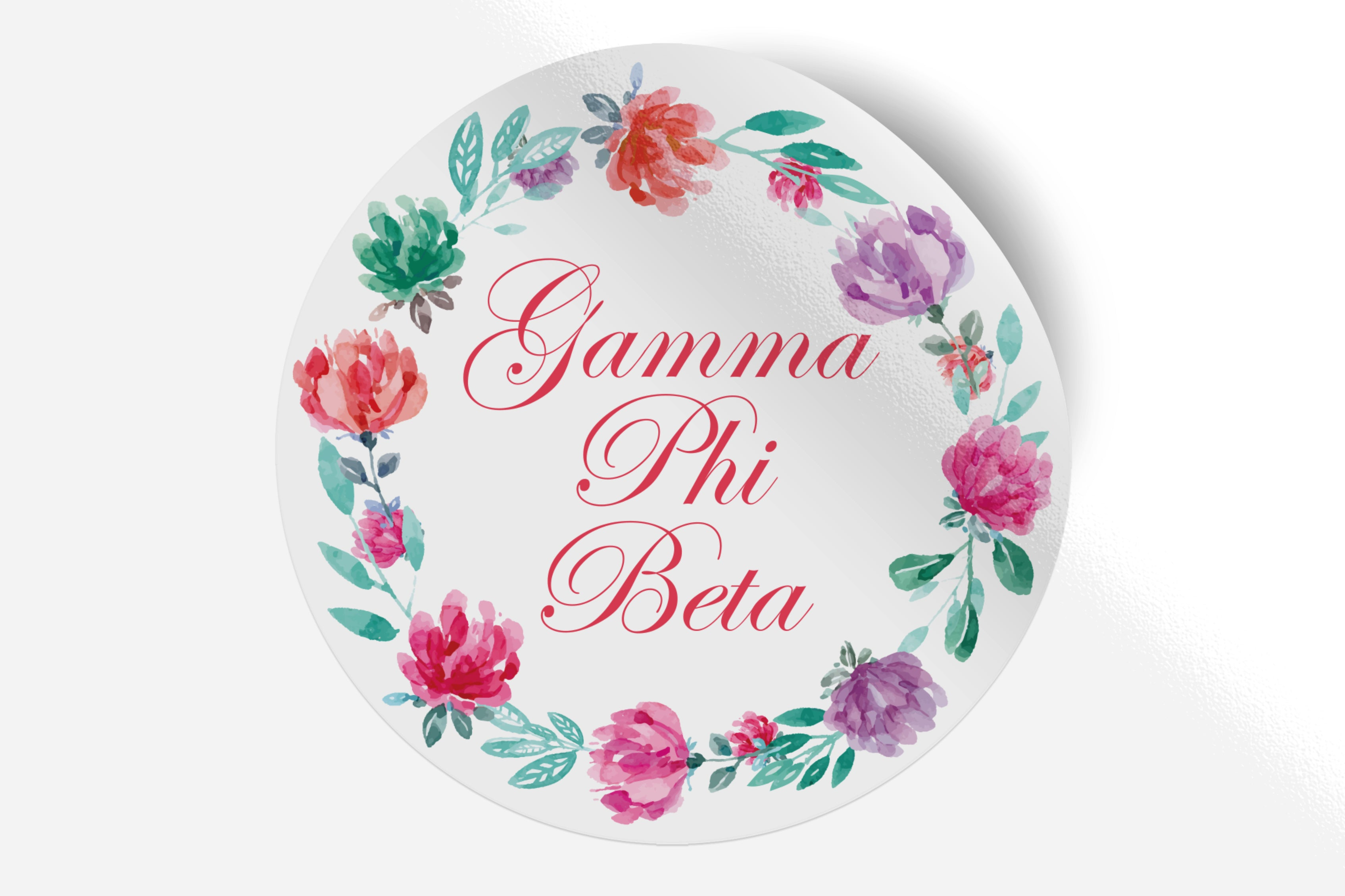 "Gamma Phi Beta - Watercolor Floral - 5"" Round Sticker"