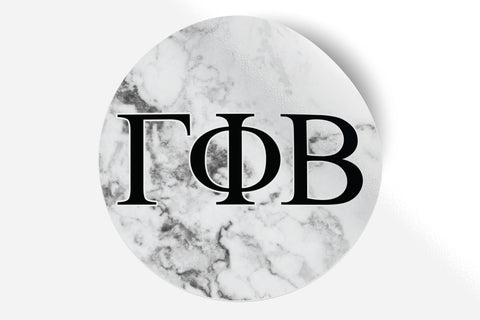 "Gamma Phi Beta - White Marble - 5"" Round Sticker"