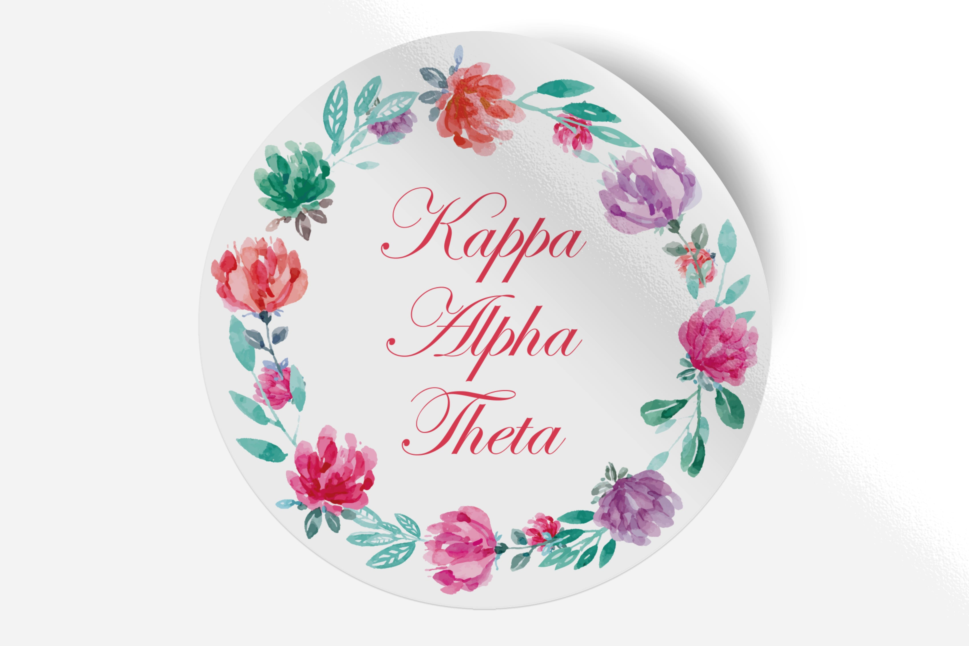 "Kappa Alpha Theta - Watercolor Floral - 5"" Round Sticker"