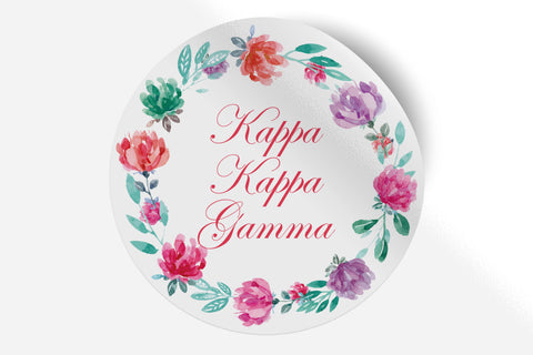"Kappa Kappa Gamma - Watercolor Floral - 5"" Round Sticker"