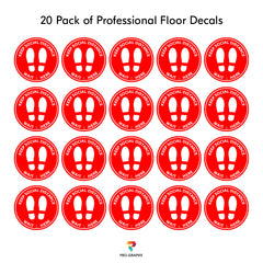 "Social Distance Floor Decals - 10 "" - 20 Pack by Pro-Graphx"