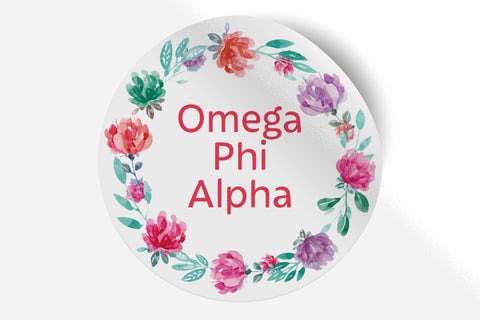 "Omega Phi Alpha - Watercolor Floral - 5"" Round Sticker"