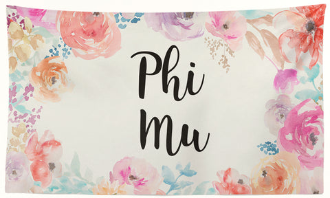 Phi Mu - New Floral - 3' x 5' Flag