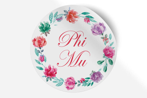 "Phi Mu - Watercolor Floral - 5"" Round Sticker"