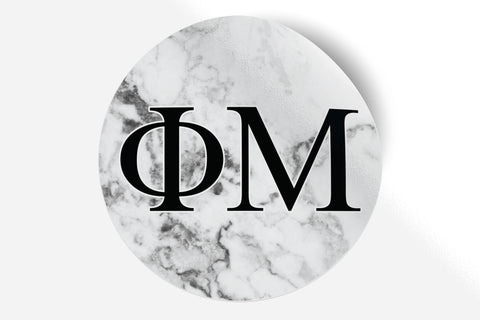 "Phi Mu - White Marble - 5"" Round Sticker"