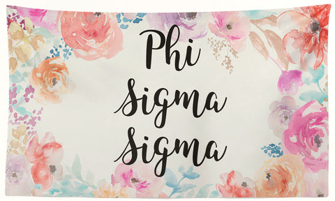Phi Sigma Sigma - New Floral - 3' x 5' Flag