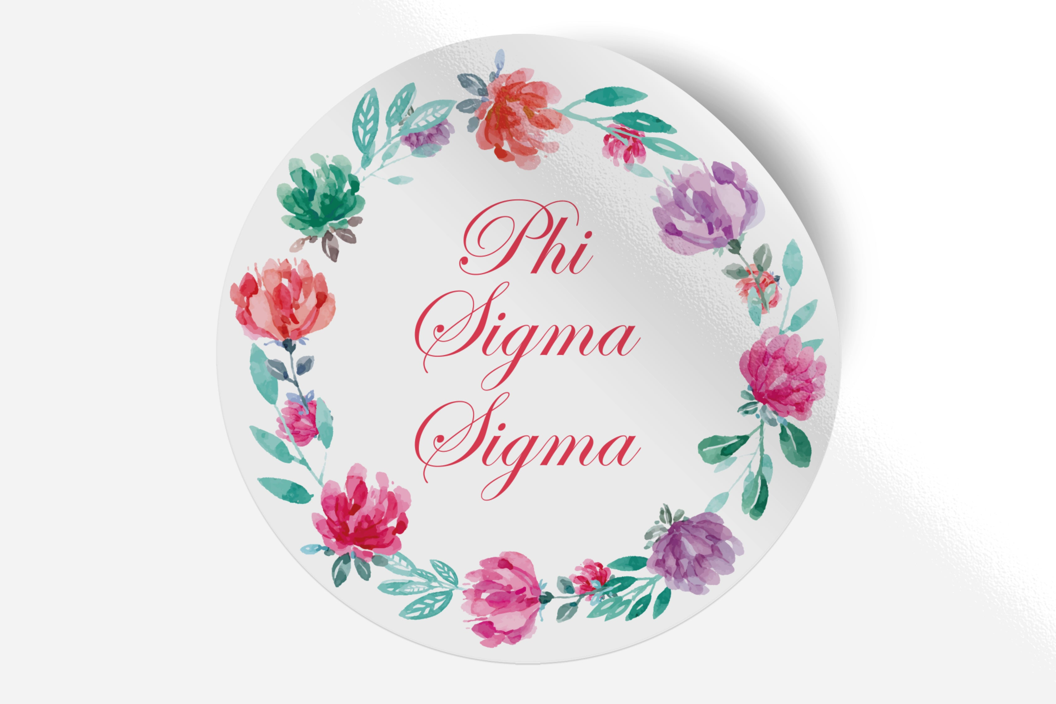 "Phi Sigma Sigma - Watercolor Floral - 5"" Round Sticker"