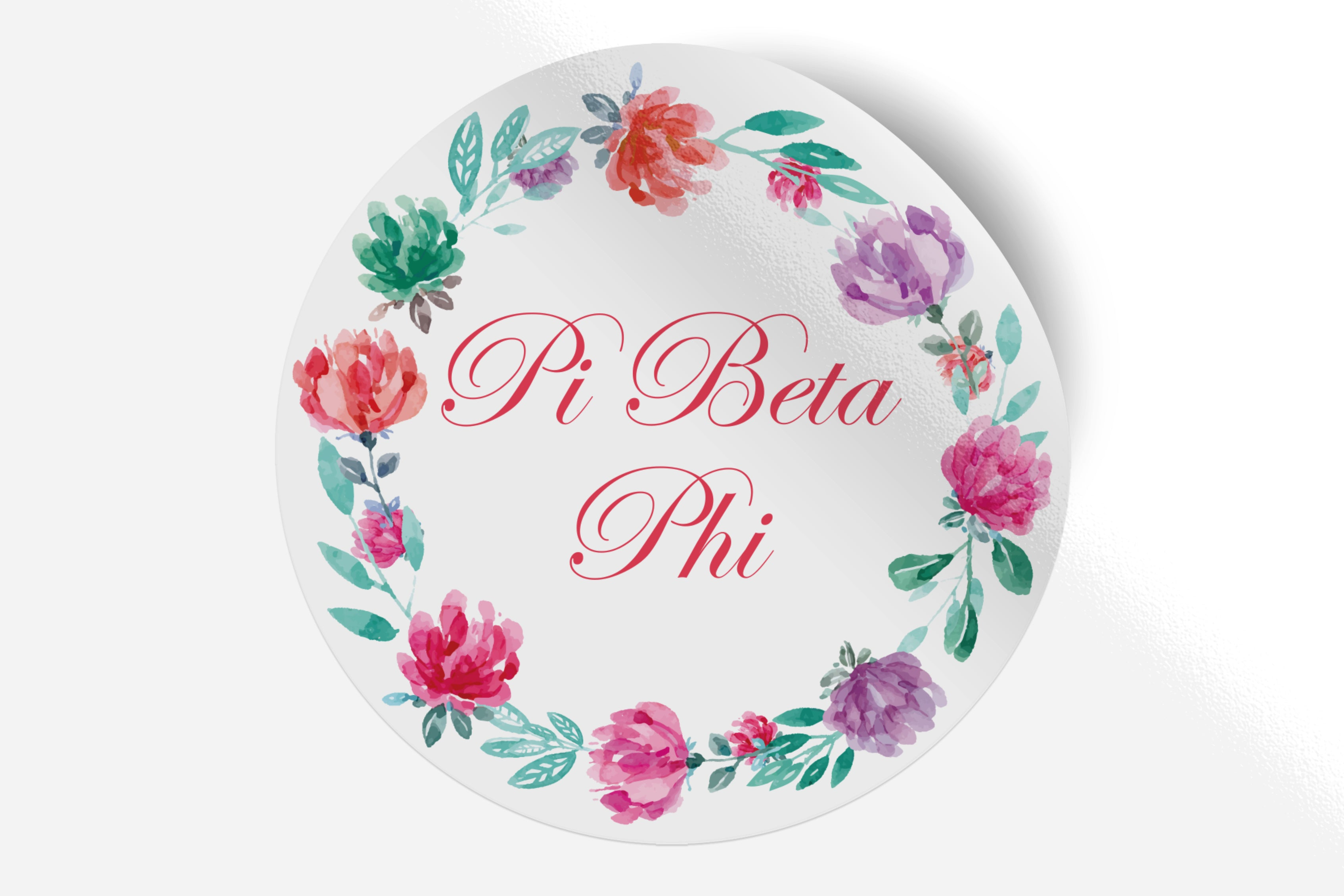"Pi Beta Phi - Watercolor Floral - 5"" Round Sticker"