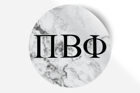 "Pi Beta Phi - White Marble - 5"" Round Sticker"